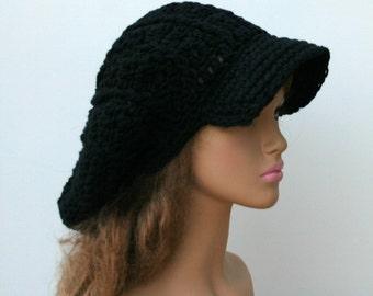 Black cotton Slouchy Newsboy Visor Tam women men newsboy cap, man woman dread visor tam, Hippie brimmed beanie Hat, cotton billed cap beanie