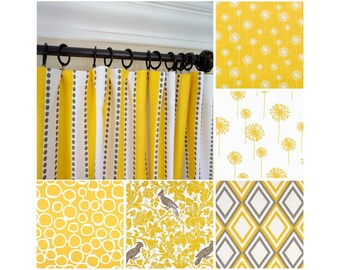 "Yellow Window Curtain.Yellow Brown Window Drapes.Dandelion Curtains.Nursery Curtains.63"" 84"" 96"" 108""-Geometric Yellow Curtains"