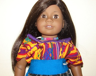 "Birds woven into this  San Juan Sacatapequez Huipil 18"" Doll Outfit fits American Girl Doll, Fair Trade  from Guatemala!"