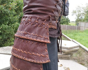 Steampunk Viking Leather Armour Skirted Underbust Corset with Tassets