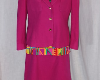 Vintage LIZ CLAIBORNE Pink Suit Jacket Size 14P Skirt Size 14P with NICOLA Blouse Size Large