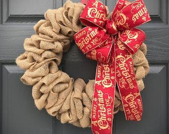 Burlap Wreaths, Burlap Decor, Christmas Burlap, Christmas Decor Burlap, Gift for Her, Natural Burlap Wreath, Burlap Door Wreaths, Holiday