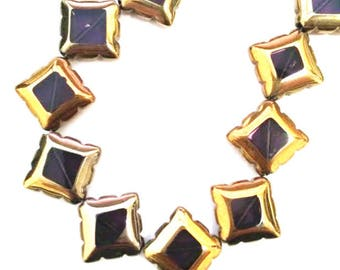 8pc 17mm copper plated  square shape glass beads-9155
