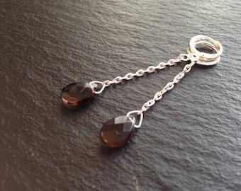 Teardrop smoky quartz stone Stud Earrings