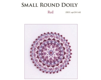 PDF Beading tutorial, red pink doily beading pattern, bead weaving tutorial, beaded small round doily, netting, ept236-1rd