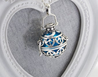 Harmony Cage EDEN with Blue Bola Ball Pendant & Necklace - Pregnancy Maternity Gender Reveal  Mum to Be