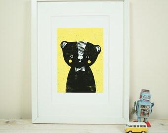 Yellow bear - A4 Print