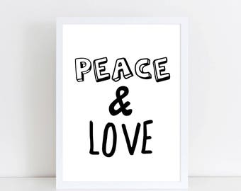 Peace and Love - Black and white home decor print- monochrome Print - Monochrome Hippie art - Hippie Print - Black and white nursery decor