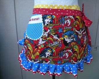 Women Aprons - Wonder Women Aprons - Annies Attic Aprons - TM & DC Comics Aprons - Hostess Gifts - Red Aprons - Aprons - Wonder Women Fabric