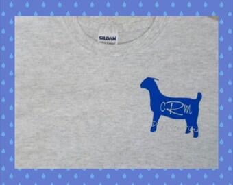 Monogrammed goat shirt - goat kid monogrammed t-shirt - custom goat shirt