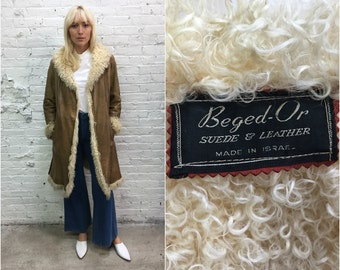 vintage Beged-Or Mongolian lamb leather coat / Penny Lane coat / tan shearling coat