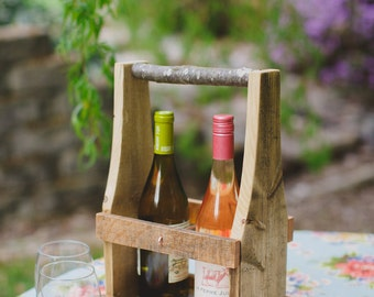 Wine Caddy, Flower Caddy, Wine Carrier, Rustic Wine Caddy, Reclaimed Wood Wine Caddy, Wine Tote, Mothers Day Gift,  Bridesmaids Gift