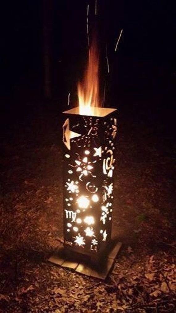 Stars And Moons Vertical Fire Pit