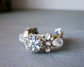 Gold Sequin Cuff with Vintage Brooches