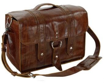 "14"" Caramel Newtown Italian leather Laptop Bag"
