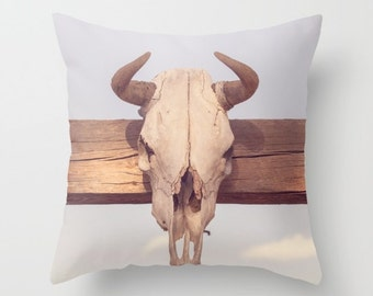 outdoor pillows, western pillows, southwest decor, animal skull, man cave, western decor, texas decor, weather resistant, texas pillows