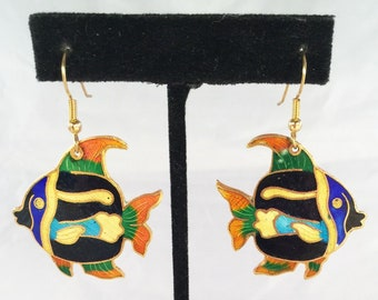 Vintage Tropical Colorful Angel Fish Cloisonne Guilloche Enamel Dangle Earrings