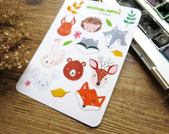 Woodland Animal Stickers  // Gouache Painting  // White  Stickers // Fox Bear Bunny Deer Wolf Hedgehog Squirrel Raccoon Mouse