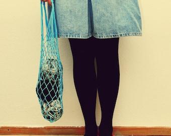 LAST ONE Reuseable Vintage Inspired Light Blue Mesh Bag