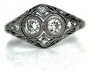 "Edwardian Engagement Ring Vintage 1930's Old European Cut Diamond Engagement Wedding Anniversary Ring Platinum ""The Peggie"""