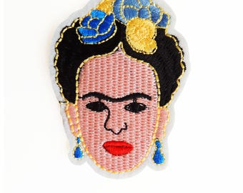 Frida Kahlo embroidered Iron-On applique patch, Mexican embellishment.