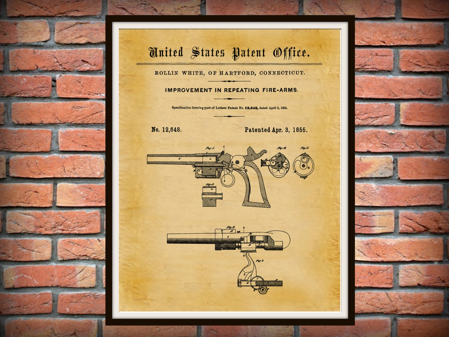1855 Smith and Wesson Patent S&W Repeating Firearm - Poster ...