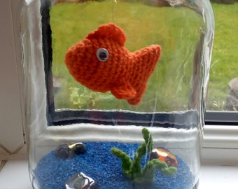 Goldfish,crochet,gift,present, house-warming,quirky
