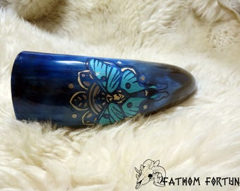 9 oz Blue Luna Moth Drinking Horn with Leather Holster