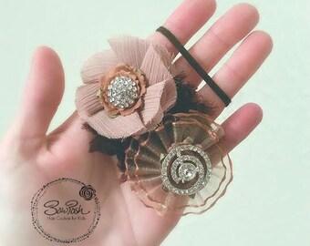 Torri- Brown flower headband, chocolate brown flowers, flower headband, newborn headband, headband for newborns, fabric flower headband,