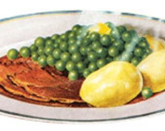 Meat and Potatoes Dinner Peas Food Classic Meal - Digital File - Vintage Art Illustration