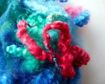 Teeswater dyed locks Aqua, Pink and Blue for Felting, tailspinning, blythe, doll hair, lock spinning, tail spinning, felt