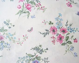 Vintage Sheet Fabric Fat Quarter – Floral Bouquets Field Flowers Butterflies Pink Blue Green Ecru Background