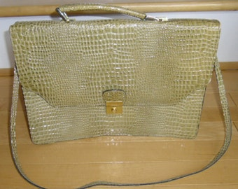 Cartable Vintage - vert Alligator Faux cartable, bandoulière amovible, intérieur zippée 2 poches, fente dos, sac de messager pour femmes