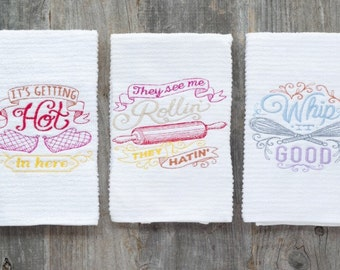 HIPSTER HOUSEWARMING GIFT / Set of 3 Kitchen Towels / Wedding Shower Gift