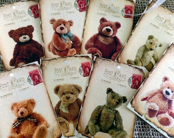 8 Tattered Postcard Teddy Bear's Picnic Gift Tags & Ribbon