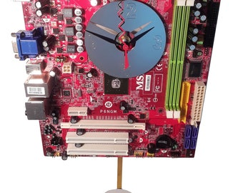 FREE SHIPPING USA! 10% Off  Motherboard Pendulum Wall Clock. Got Corporate Gift, Company Gift Clock, Teacher Gift, Geek Clock, Lobby Clock?