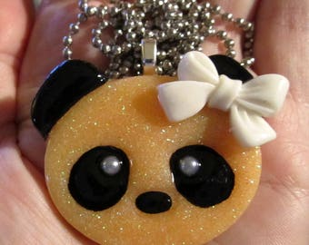 Orange Panda Bear Necklace-Kawaii Panda Jewelry-Handmade Resin Pendant Jewelry