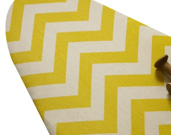 PADDED Ironing Board Cover made with heavy weight yellow and vanilla cream chevron select the size