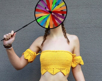 Crochet top (Model Napoli) crochet bikini top, summer top with arm cuffs (elasticized)