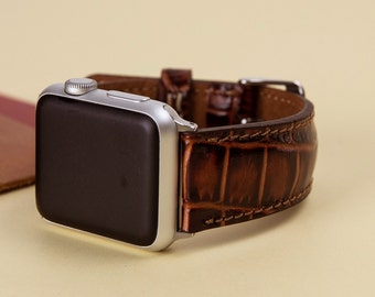 Leather Band for Apple Watch iWatch Strap 38mm 42mm Brown For Man or Women Lazer, Initials, Gift Wrapping Avaliable, Naturel, Soft Leather