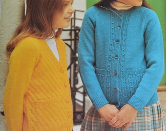 PDF girls cardigans two designs vintage knitting pattern pdf INSTANT download kids pattern only pdf 1970s