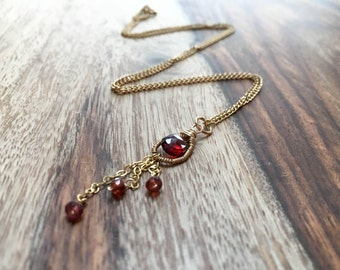 Garnet Tassel Necklace - 14k Gold Fill Handmade Wire Wrapped and Coiled Genuine Garnet Gemstone Trio Necklace Gift January Birthstone OOAK