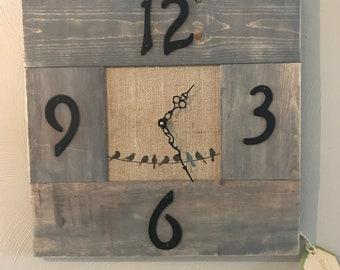 Rustic Clock Made from Reclaimed Materials birds burlap - sepentine hands