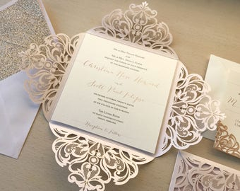 Lasercut Invitation Kit - Blush and Rose Gold Wedding - Pink Wedding Invitation - Rose Gold Glitter Envelope Liner - Quinceanera - Laser Cut
