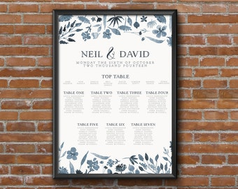 Dusky Blue Floral Watercolour Wedding Seating Chart Table Plan - Poster Print - Digital Download - Wedding Printable - Table Plan