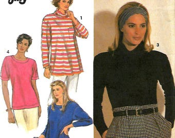 Simplicity 9873 Sewing Pattern, Misses Stretch Knit Jiffy Top And Tunic In Two Lengths, Size PT-XL, UNCUT