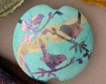 "Handmade Lampwork Focal Bead ""Birdtalk"" SRA Sandblasted Glass ~ Iridescent Lustre Picture Bead ~ Sky & Aqua"