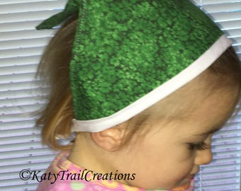 Head Kerchief for Toddlers to 3's In Green Shamrock Fabric and Cloth Ties and Binding OOAK