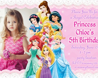 Princess invitations etsy quick view disney princess birthday invitation stopboris Images