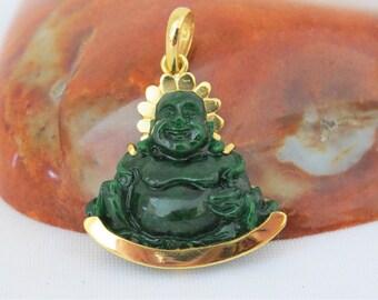 Vintage 18K Solid Yellow Gold Natural Green Jadeite Jade Laughing Buddha, Happy Buddha Pendant